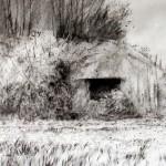 "Blockhaus ""B"" near Houdain Lez Bavay. 1.30pm Sat 11 May 2002. A2 Charcoal-ink"