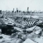 Auschwitz-Birkenau. Destroyed latrine block.4pm Thur 8 May 97. A4 Charcoal-ink