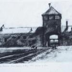The Gatehouse, Auschwitz-Birkenau. 11am Tues 6 May 1997. A4. Charcoal-ink.