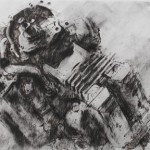 Wrecked Yamaha FZR engine. IOM TT. 29 May 1997. A4 Charcoal-ink