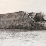 ROBERT PERRY. Mulberry Harbour, Arromanches. Normandy. 2003 Charcoal, ink, airbrush. 30x42cm