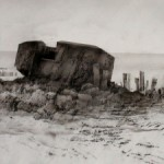 ROBERT PERRY. Destroyed German defence installation. Gold Beach, Normandy. 2003. Charcoal, ink, airbrush. A3