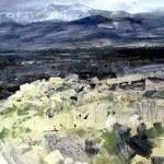 Sierra Guadarama with approaching snowstorm. Feb 1999. 48 x 96 inches. Oil