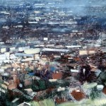 View of the Black Country from Darbys Hill, Dudley. 38 x 52 inches. Oil