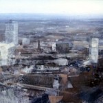 View of Birmingham from the Alpha Tower. 33 x 76 inches. Oil