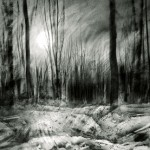 Setting sun.Trenches in Aveluy Wood. Somme. 4.pm. 4 Feb 2001. A3 Charcoal-ink