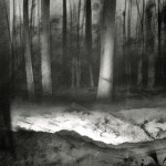 Lamp-lit trenches in Aveluy Wood. Somme. 10.45pm 18 Feb 2001. A4 Charcoal-ink