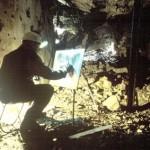 At work. Interior of shattered Infantry Shelter Abri DV2, Verdun. 9 March 2001. Photo