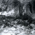 Interior of shattered Infantry Shelter Abri DV2, Verdun. 5.05pm Fri 9 March 2001. A2 Charcoal- ink