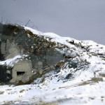 Fort Vaux under snow, Verdun. 5.00pm Thur 1 March 2001. A3. Gouache