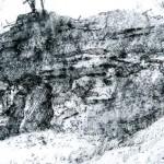 Infantry Shelter Abri DV2, Verdun. 4.00pm Tue 27 Feb 2001. A3. Charcoal-graphite-ink.