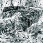 Infantry Shelter Abri DV2, Verdun. 5.30pm Tue 27 Feb 2001. A3. Charcoal-graphite-ink.
