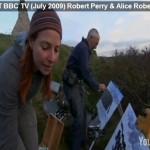 "Robert Perry & Alice Roberts at Etretat, Normandy. Courtesy of ""COAST"" BBC TV (July 2009)"