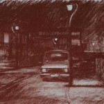 12.25am. 28 August 1987. Station Road, Brockmoor. Size A2. Conte crayon.