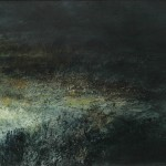 2.15am 12 April 07. Lamp-lit landscape near Llanbedr. Size A0. Oil