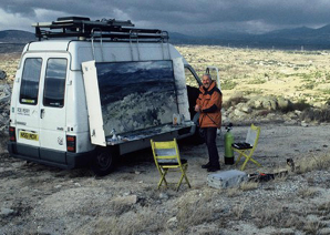 At work on Sierra Guadarama,  North of Madrid. Heavy snowstorm approaching.  February 1999.   Photo