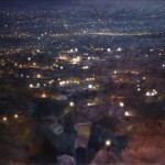 10.45pm  4 October 2005, Black Country Night. View from Turners Hill. Dudley. 36x72 inches Oil.