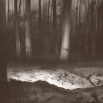 The Somme Battlefields  Lamp-lit trenches in Aveluy Wood.  Size A3. Charcoal & ink