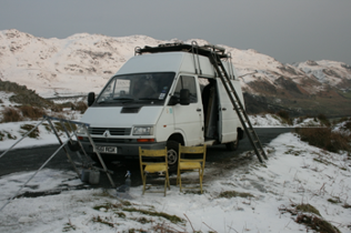 The Van in working mode.  4.20pm, 12 February 2013. Great Stickle, Lake District.  Photo.
