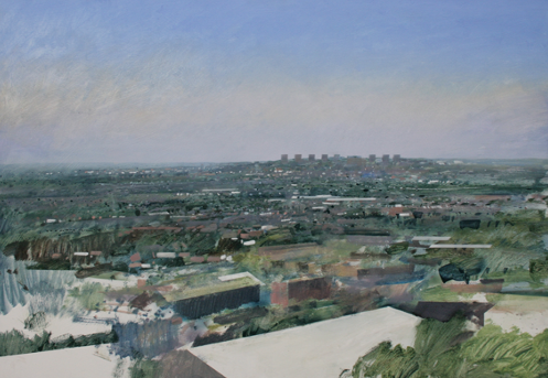 11DpA1-01   10.55am, 27 April 2011.  View of Brierley Hill from Oldnall Hill.  Size A1 60x84cm  (24x33 inches)  Oil