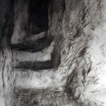 Stairway. German Tunnel at Vauquois.  2.00pm, 14 February 2003. A3. Charcoal/ink.