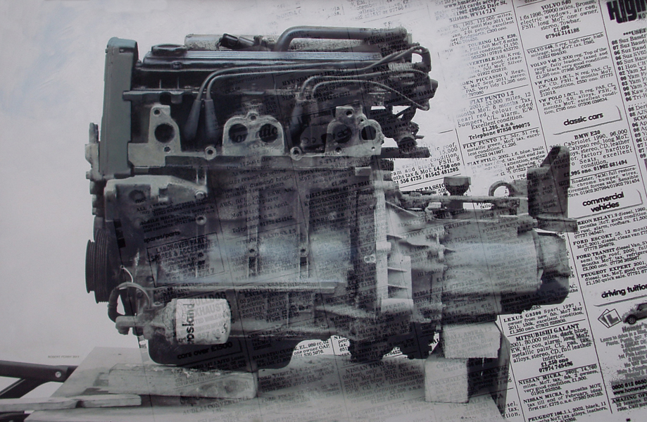 8.15pm 11 March 2011 'ENGINE 15'  Size 48X72inches  Oil & digital print