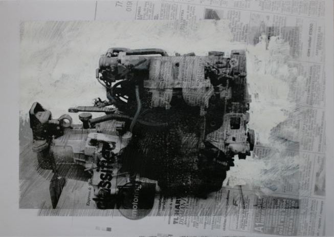 10.25pm, 5 February 2011.'ENGINE - 08' Size A3 Mixed media