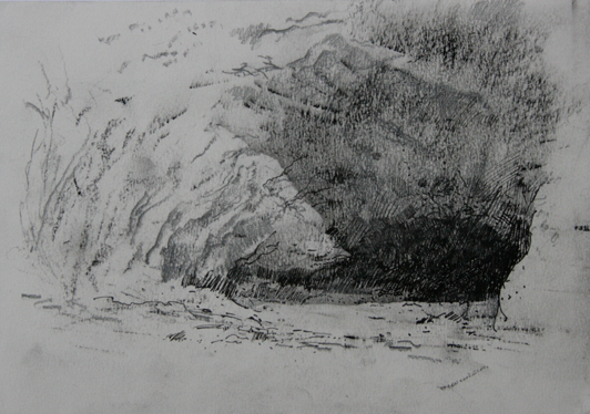 Thumbnail study. Exterior View of the cave dwelling from right.  2.30pm 19 October 2012.. Size A5. Charcoal, pencil & ink