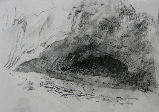 Thumbnail study. Exterior View of the cave dwelling from left.  3.00pm 19 October 2012.Size A5. Charcoal, pencil & ink