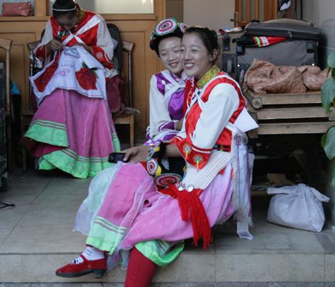 Naxi girls preparing for traditional dance 18 October 2012
