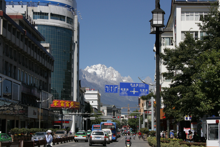 Street in Lijiang with the Snow Mountain.
