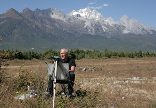28 CHINA 2012 Rob at work in the Lijiang Basin 24 October 20