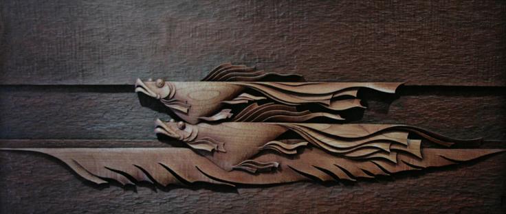 49 CHINA Flying Fish. Woodcarving by Ah Dong