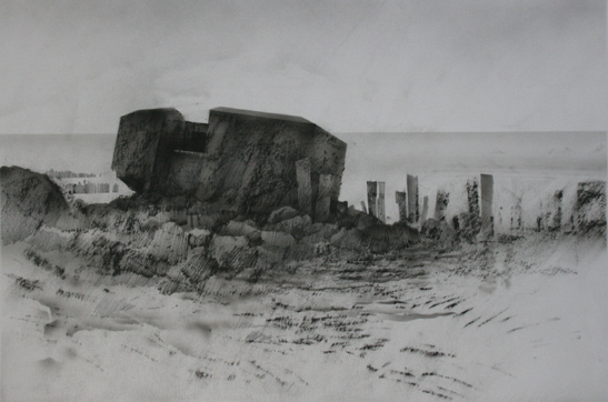9.30pm 10 July 2003.  Destroyed German Coastal defences. Gold Beach.   Charcoal, ink. airbrush