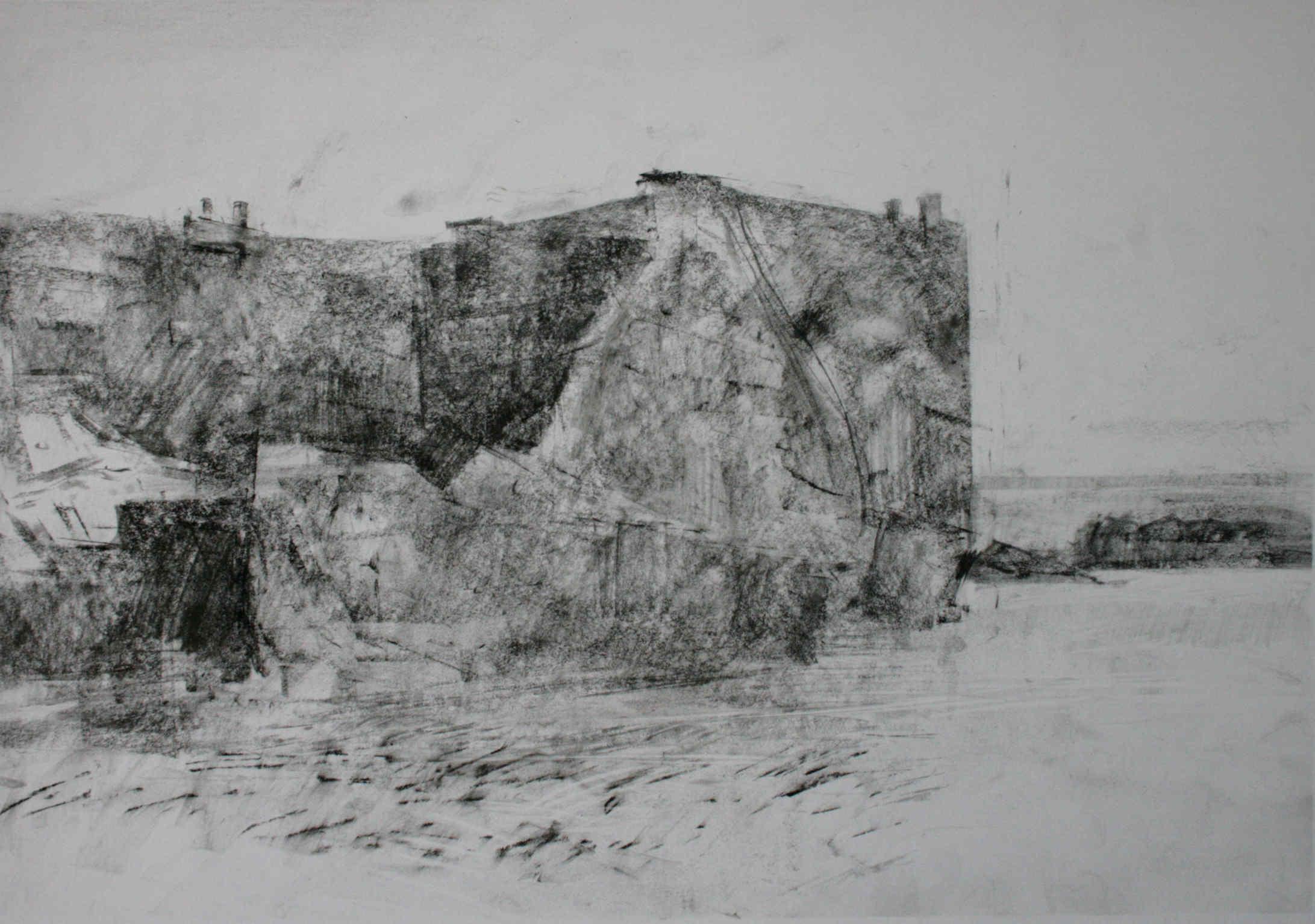 10.05am, 13 July 2013. Remnants of Mulberry Harbour, eastern end. Arromanches (Asnelles) Low Tide.