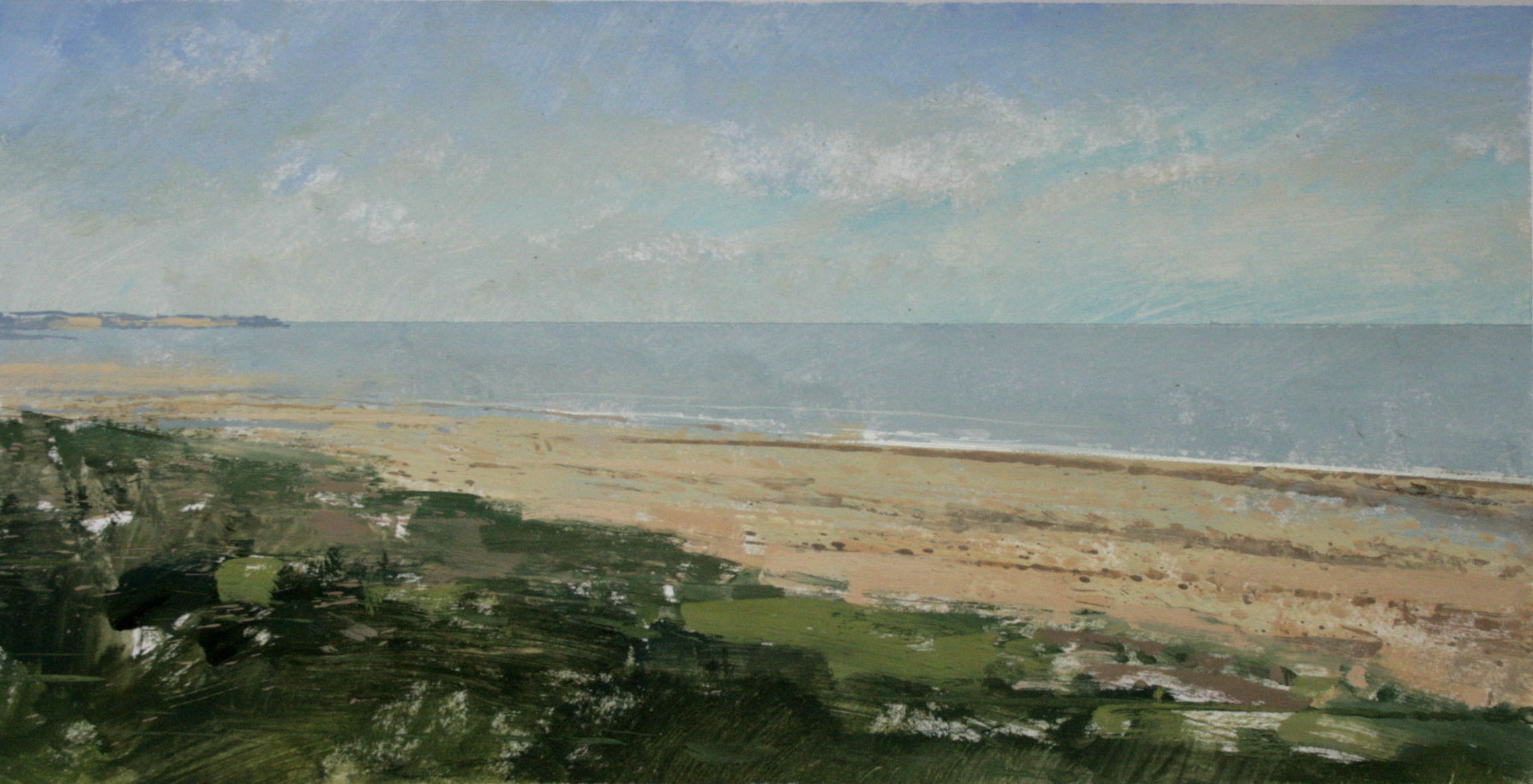 8.15am, 10 July 2013. Omaha Beach where the Americans suffered horrific losses on the 6th June 1944.       Low Tide. Gouache