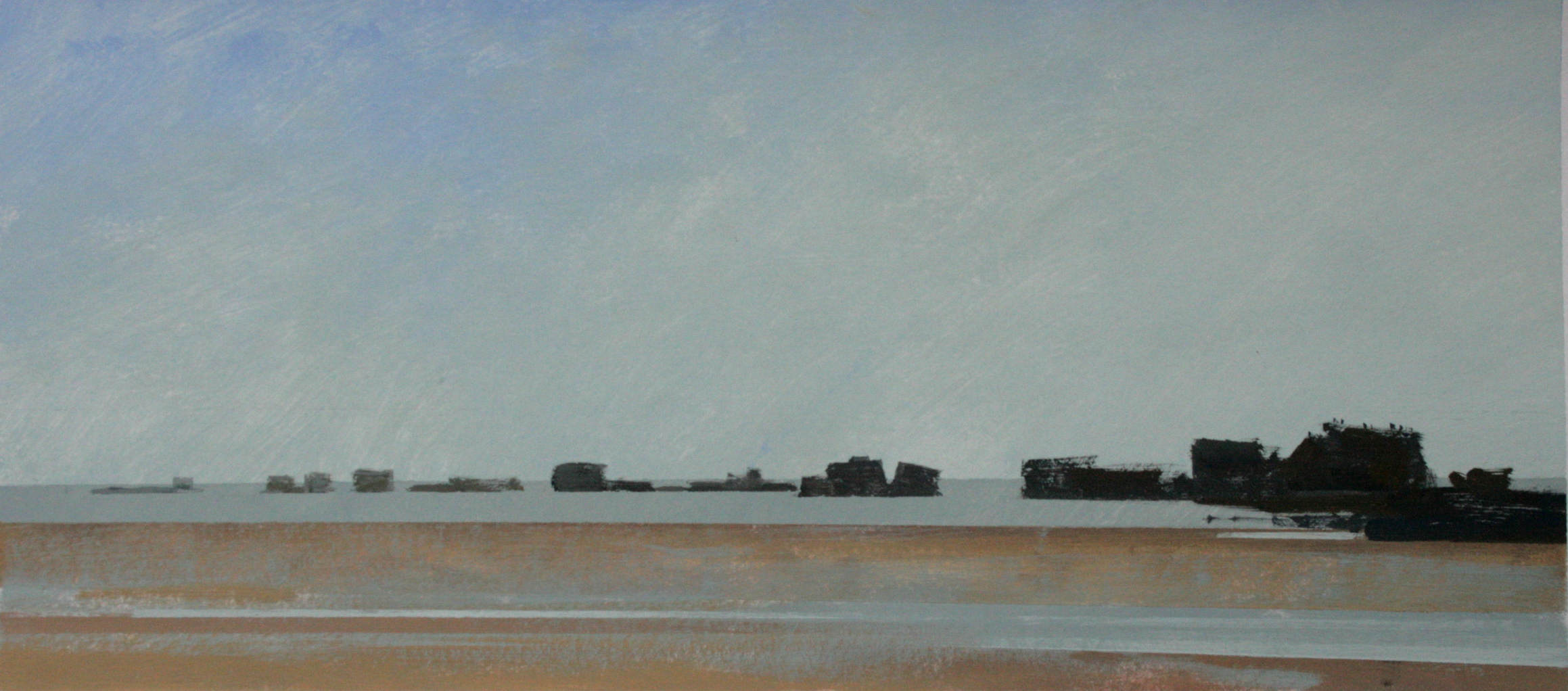 8.40am, 13 July 2013.  Remnants of the eastern end of the Mulberry Harbour. Arromanches. Low Tide. Gouache