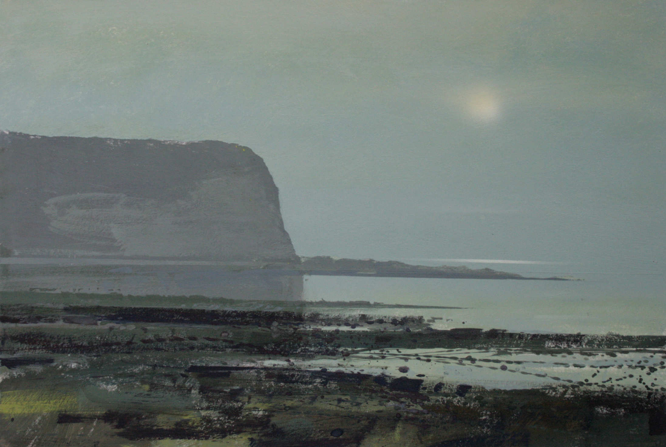 9.25pm,15 July 2013. Sun setting in sea mist at Yport,  A3 Gouache.
