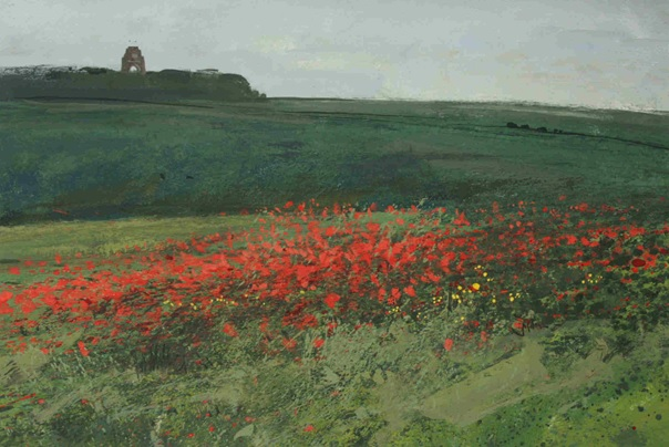 1.25pm, 2 July 2013. Field of poppies and Thiepval Memorial to the Missing of the Somme. From Mesnil Ridge.