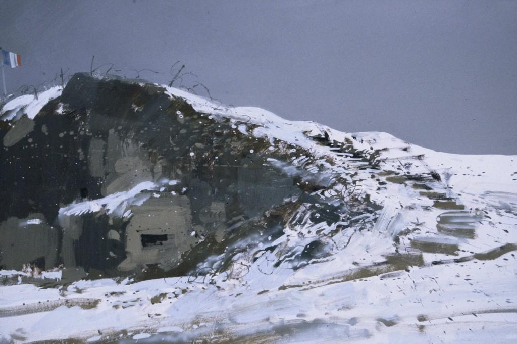 Fort Vaux under snow 5pm Thur 1 Mar 20015pm Thur 1 Mar 2001. Size A3. Gouache.