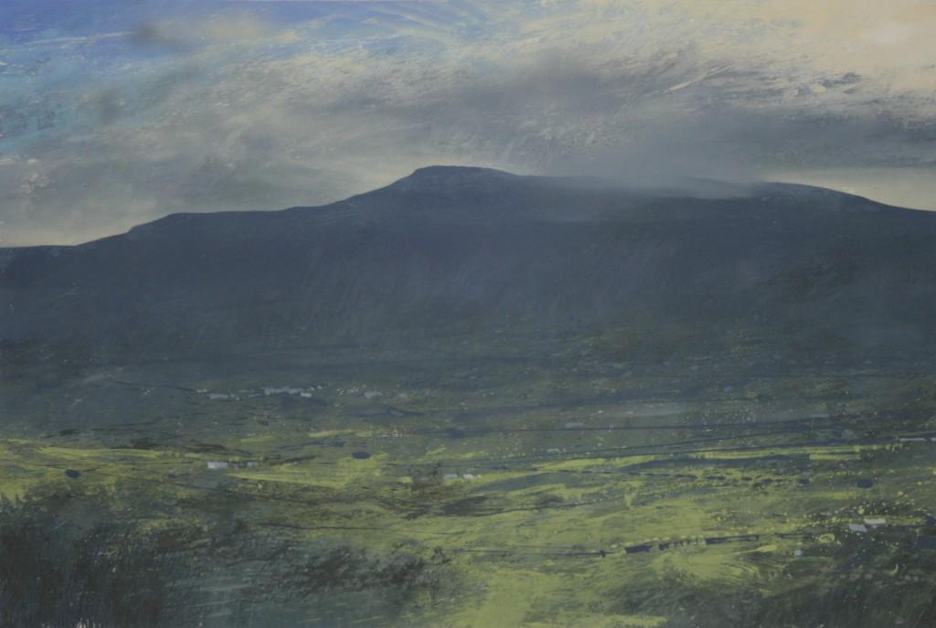 2.35pm, 24 November 2014. View of Cadair Idris and glimpse of Dolgellau. Size A3 Gouache
