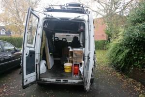 22 Nov 2014. (LR) Loading up, showing spartan interior living-working space.