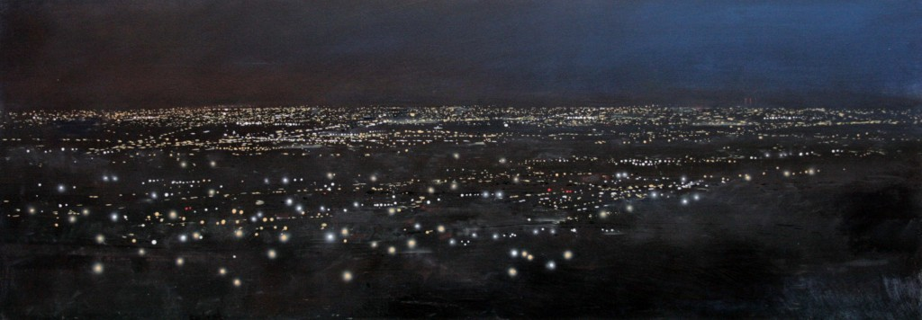 6.00pm, 19 January 2012. View East from Darby's Hill, Dudley.  42 X 120cm.  Oil
