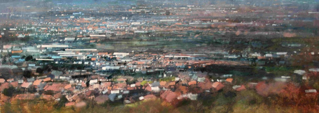 3.50pm 30 Jan 08. View North from Darby's Hill, Dudley,  91 X 244cm.  Oil