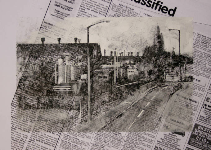 12.25pm, 18 October 2010. Chemical Works and Railway Bridge , Rood End Road, Tat Bank, Smethwick.  Size A4. Mixed Media