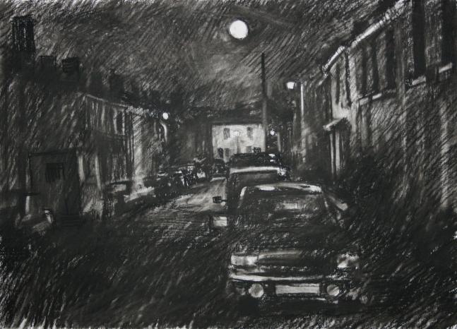 2.05am 13 July 1987. Full Moon over John Street, Wordsley - Size A2 Charcoal