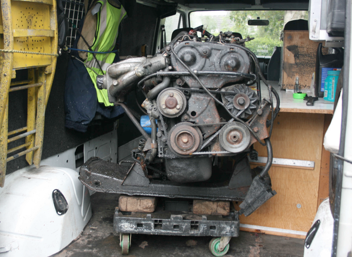 N608 KBX  engine and gearbox in rear section of  N561 AOX